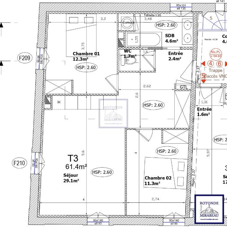 Vente Appartement AIX EN PROVENCE surface habitable de 61.4 m²